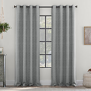 "Clean Window Subtle Woodgrain Recycled Fiber Semi-Sheer 50"" x 84"" Gray Grommet Curtain Panel, Gray, large"