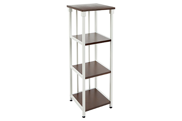 Mixed Material 4-Tier Floor Shelf, White, large