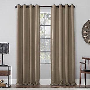 """Archaeo Linen Blend Blackout Grommet 52"""" x 63"""" Mocha Top Curtain, Mocha, large"""