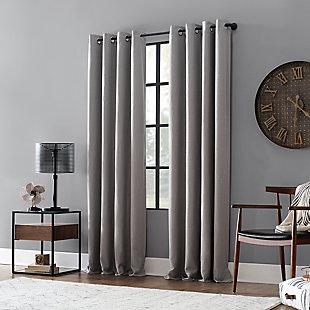 "Archaeo Linen Blend Blackout Grommet 52"" x 95"" Gray Top Curtain, Gray, large"