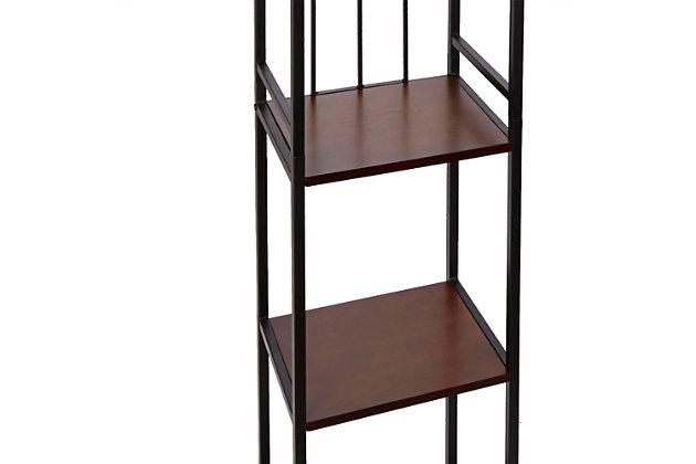 Mixed Material 5-Tier Linen Shelf, Brown, large