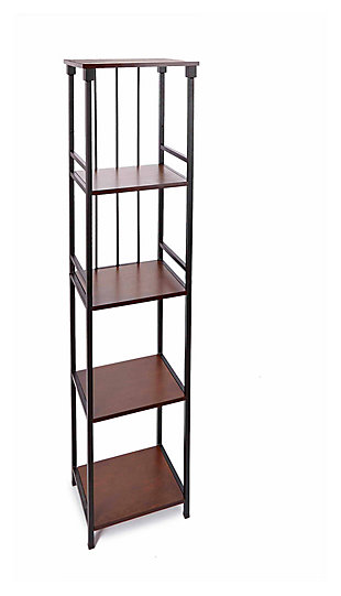 Mixed Material 5-Tier Linen Shelf, Brown, large