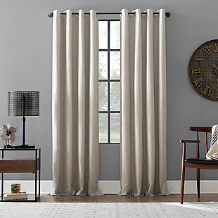 "Archaeo Linen Blend Blackout Grommet 52"" x 84"" Pearl Top Curtain, Pearl, large"