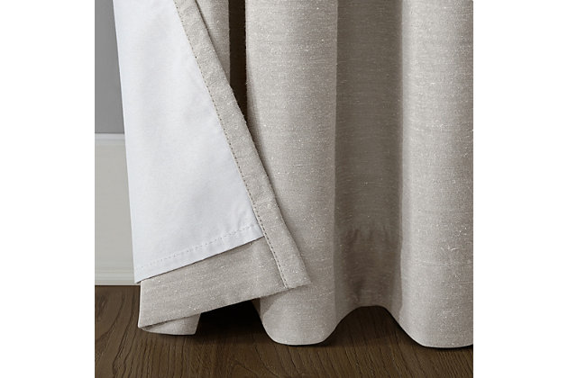 """Archaeo Linen Blend Blackout Grommet 52"""" x 84"""" Pearl Top Curtain, Pearl, large"""