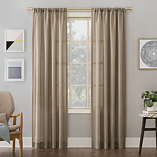 "No. 918 Amalfi Linen Blend Textured Semi-Sheer 54"" x 84"" Taupe Rod Pocket Curtain Panel, Taupe, large"