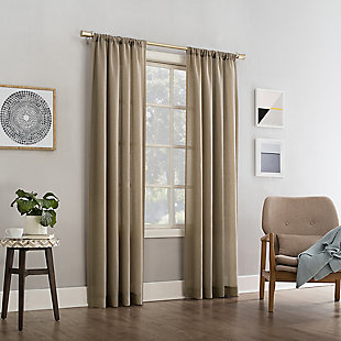 """No. 918 Amalfi Linen Blend Textured Semi-Sheer 54"""" x 84"""" Taupe Rod Pocket Curtain Panel, Taupe, large"""