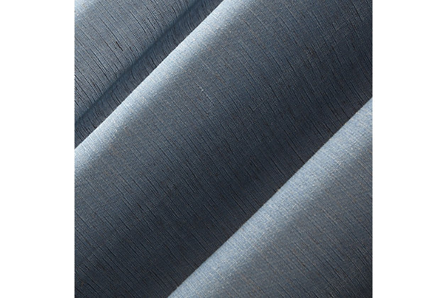 "No. 918 Amalfi Linen Blend Textured Semi-Sheer 54"" x 95"" Denim Blue Rod Pocket Curtain Panel, Denim Blue, large"