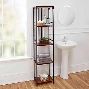 Mixed Material 5-Tier Linen Shelf, Brown, rollover