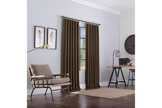 "Clean Window Heathered Texture Recycled Fiber Semi-Sheer 50"" x 96"" Rust Brown Tab Top Curtain Panel, Rust Brown, large"