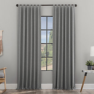 "Clean Window Heathered Texture Recycled Fiber Semi-Sheer 50"" x 84"" Gray Tab Top Curtain Panel, Gray, large"