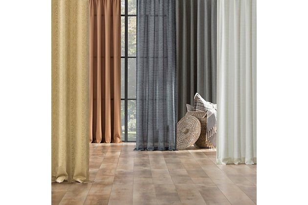 """Clean Window Heathered Texture Recycled Fiber Semi-Sheer 50"""" x 84"""" Gray Tab Top Curtain Panel, Gray, large"""