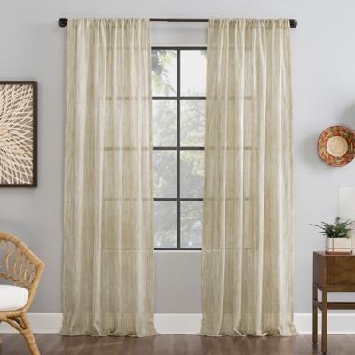 "Archaeo Bamboo Stripe Cotton Sheer 50"" x 84"" Linen Curtain, Linen, large"