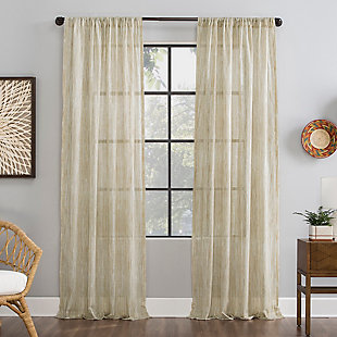 "Archaeo Bamboo Stripe Cotton Sheer 50"" x 84"" Linen Curtain, Linen, large"