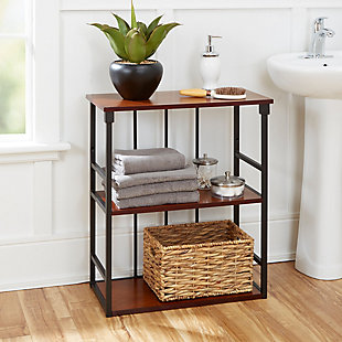 Cheyenne Mixed Material 3-Tier Wall Shelf, Black, rollover