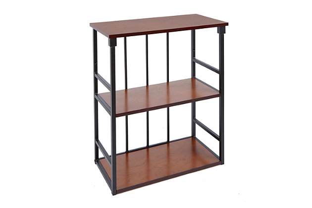 Cheyenne Mixed Material 3-Tier Wall Shelf, Black, large