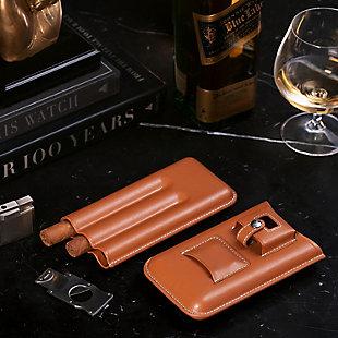 Landon Leather Cigar Set, Tan, rollover
