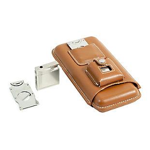 Landon Leather Cigar Set, Tan, large