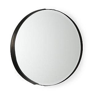 "Mercana Adrianna 24.4"" Black Metal Round Mirror, Black, large"