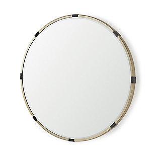 "Mercana Melissa 31.5"" Large Round Gold Metal Wall Mirror, , large"
