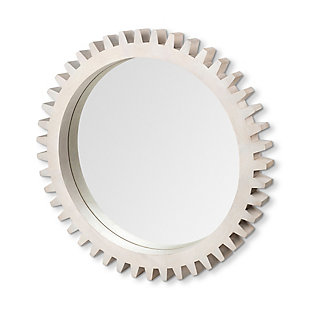 "Mercana Sterling Cog III 35.5"" Round White Wood Frame Mirror, , large"