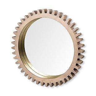 "Mercana Sunrise Cog 35"" Round Brown Wood Frame Mirror, Brown, large"