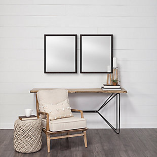 Mercana Black 20x24 Faux Wood Frame Bathroom Vanity Mirror, Black, rollover