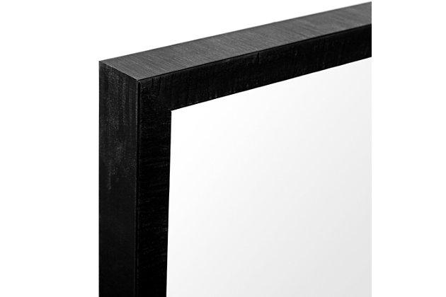 Mercana Black 20x24 Faux Wood Frame Bathroom Vanity Mirror, Black, large