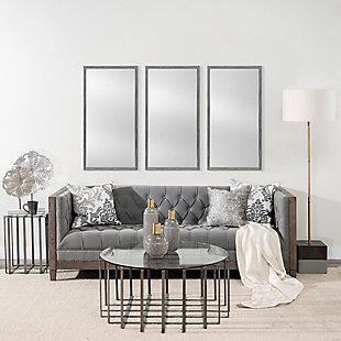 Mercana Gray 20x40 Faux Wood Frame Bathroom Vanity Mirror, Gray, rollover