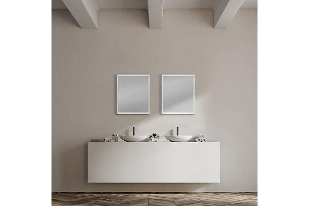 Mercana White 20x24 Faux Wood Frame Bathroom Vanity Mirror, White, large