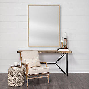 Mercana Tan 30x40 Faux Wood Frame Bathroom Vanity Mirror, Tan, rollover