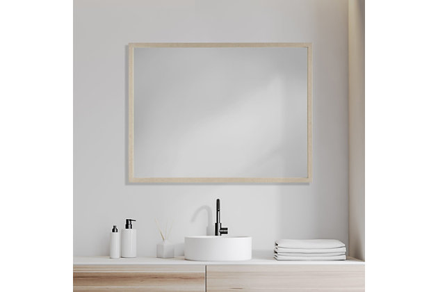 Mercana Tan 30x40 Faux Wood Frame, 30 X 40 Bathroom Vanity Mirror