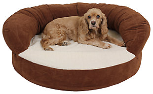 Ortho Small Sleeper Bolster Pet Bed, Chocolate, rollover