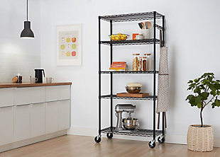 TRINITY 5-Tier Wire Shelving NSF with Sidebar and Wheels, , rollover