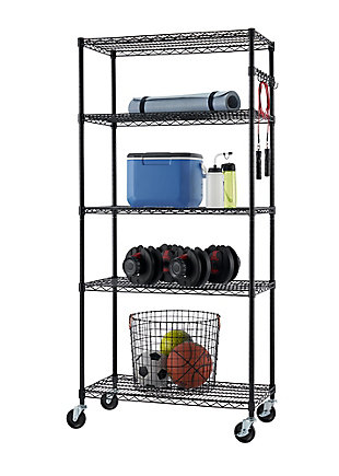 TRINITY 5-Tier Wire Shelving NSF with Sidebar and Wheels, , large