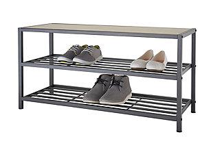 TRINITY 3-Tier Shoe Bench, Slate Gray, large