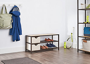 TRINITY Bamboo Shoe Bench with Baskets, , rollover