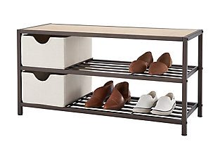 TRINITY Bamboo Shoe Bench with Baskets, , large