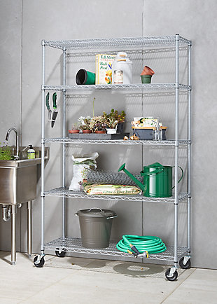 TRINITY 5-Tier Wire Shelving with Wheels, , rollover