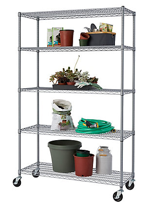 TRINITY 5-Tier Wire Shelving with Wheels, , large