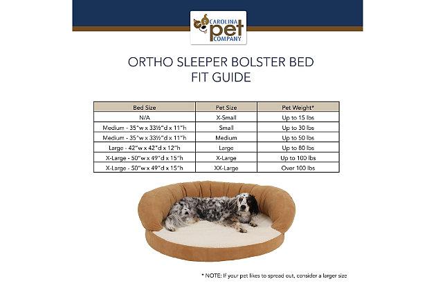 Ortho Small Sleeper Bolster Pet Bed, Caramel, large