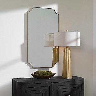 Uttermost Lennox Brass Scalloped Corner Mirror, , rollover