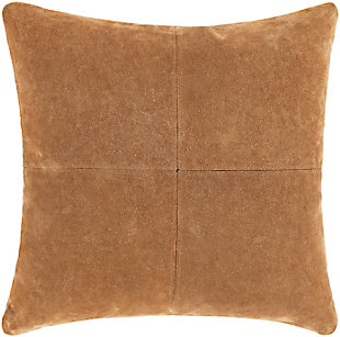 Surya Manitou Suede Pillow, Camel, rollover
