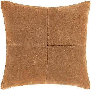 Surya Manitou Suede Pillow, Camel, large