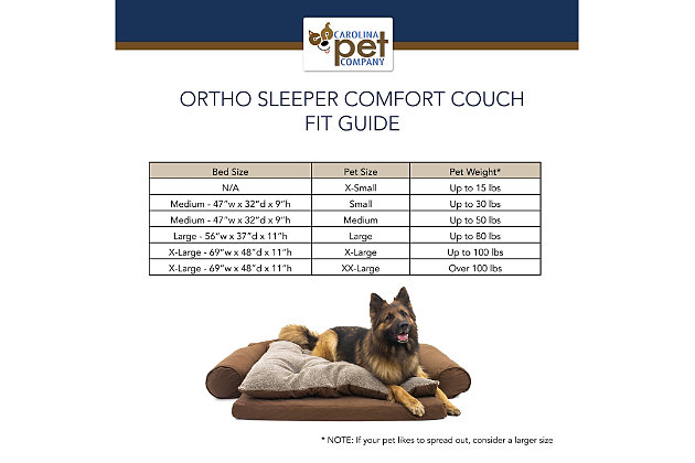 Ortho Small Sleeper Comfort Couch® Pet Bed, Chocolate, large
