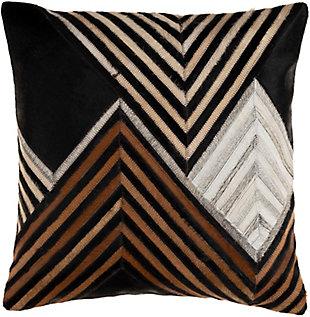 Surya Nashville Diagonal Striped Leather Pillow, , large