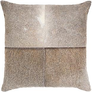 Surya Zavala Leather Pillow, Light Gray, rollover