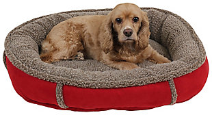 Berber Small Round Comfy Cup® Pet Bed, Red, rollover