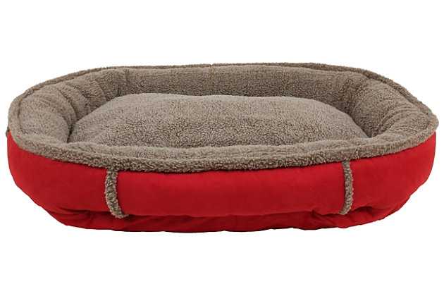 Berber Medium Round Comfy Cup® Pet Bed, Red, large