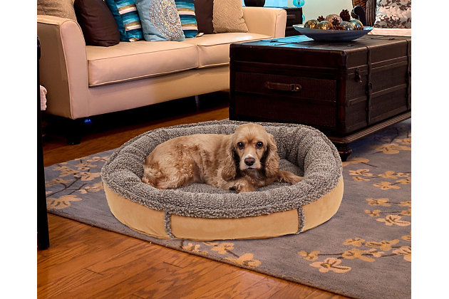 Berber Small Round Comfy Cup® Pet Bed, Caramel, large