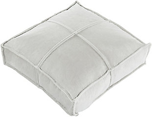 Surya Cotton Velvet Floor Pillow, Medium Gray, rollover